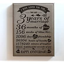 "BELLA BUSTA 3 Years of marriage -2015->2018-Months,Weeks, Days, Hours, Minutes, Seconds-3rd anniversary gift-Our 3rd Wedding Anniversary-Engraved Leather Plaque (7""x 9"" Vertical (Light Brown))"