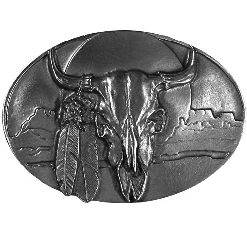 (Pewter Belt Buckle - Buffalo Skull with Feathers - Unfinished)