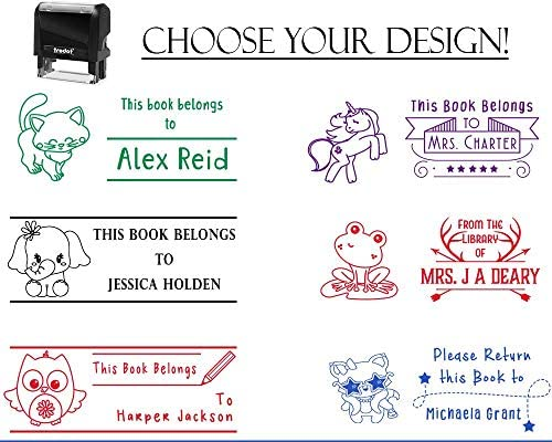 From the Library of Teacher Stamp Personalized Cute Bear Book Pattern Design Rubber Stamper
