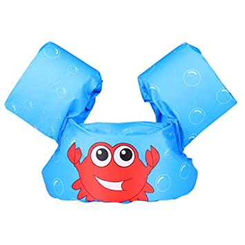 Bandas de brazo inflables para niños, chaleco flotador de cangrejo para nadar para 2 –