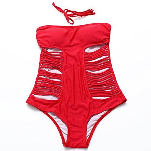 YONGYI Europa y la tentación de grabado el cuerpo Traje de baño color sólido gráficos la Sra. Delgado San Sau hot springs trajes de baño Rojo