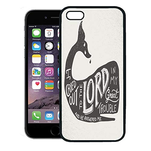 Semtomn Phone Case for iPhone 8 Plus case,Christian Bible Quote in Hand Lettering Inside Whale Silhouette from The Book of Jonah Lord iPhone 7 Plus case Cover,Black ()
