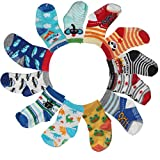FASOTY 12 Pairs Assorted Non Skid Ankle Cotton Socks Baby Walker Anti Slip Stretch Sneakers Crew Socks with Grip for 16-36 Months Baby (Animal Patterns) For Sale
