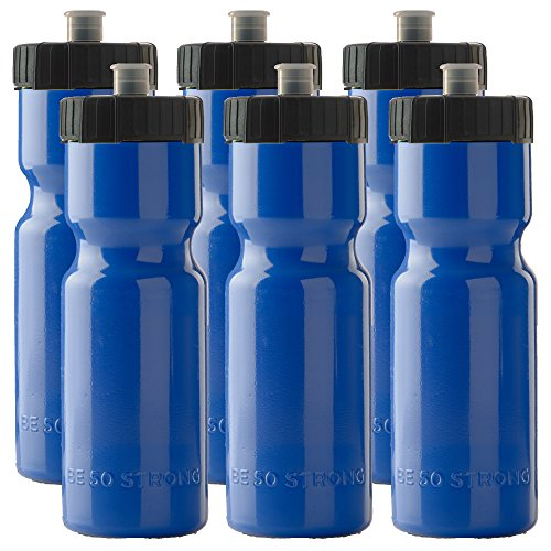 50 Strong Sports Squeeze Water Bottle Team 6 Pack – 22 oz. BPA Free Easy Open Push/Pull Cap – USA Made (blue/black)