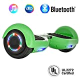 """NHT 6.5"""" inch Aurora Hoverboard Self Balancing Scooter with Built-in Bluetooth Speaker Colorful LED Wheels and Lights- UL2272 Certified … (Carbon Fiber Blue)"""