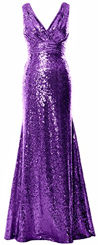 Gown Bridesmaid MACloth Maxi Sequin Party Purple Evening Women Gown V Neck Formal HFqvrzHw