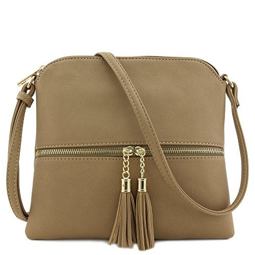 Lightweight Medium Crossbody Bag with Tassel (Taupe)