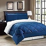 Down Alternative Reversible Comforter Set KING SIZE/Reversible in Navy Blue/White