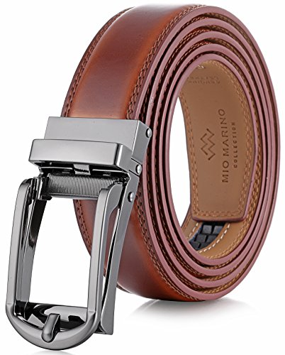 Marino Men's Genuine Leather Ratchet Dress Belt with Open Linxx Buckle, Enclosed in an Elegant Gift Box - Burnt Umber - Style 69 - Custom: Up to 44