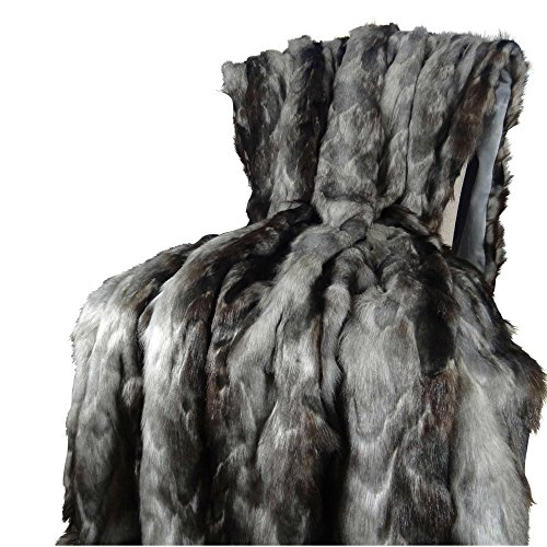 (Thomas Collection Exotic Gray Fox Faux Fur Throw Blanket & Bedspread - Gray Charcoal Black Fox Fur - Gray Fox Throw Blanket - Luxury Soft Fox Faux Fur, Made in USA, 16439)