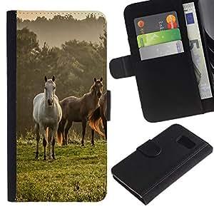 Paccase / Billetera de Cuero Caso del tirón Titular de la tarjeta Carcasa Funda para - Horses Nature Meadow Fog Mist Field Mustang - Samsung Galaxy S6 SM-G920