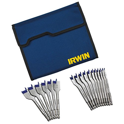 IRWIN Tools SPEEDBOR Blue-Groove Pro Spade Bit Set with Storage Case, 17-Piece (1792761) (Flat Spade Bits)