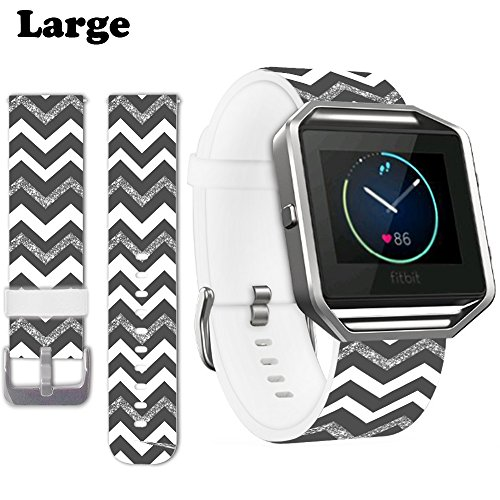 "Jolook for Fitbit Blaze Band Large,Jolook Large Leather Band Replacement for Fitbit Blaze Large (7.0""-9.0"") - White Black Shining Citroen Design Band"