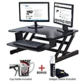 "Rocelco Height Adjustable Standing Desk Riser - ADR 32"" wide - Black Finish with Bonus Anti-Static Screen Cleaner Included!"