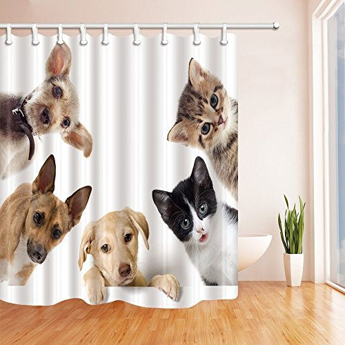 HiSoho Animals Lover Cute Dogs and Cats Circle Shower Curtain 71X71 inches Resistant Polyester Fabric Bathroom Fantastic Decorations Bath Curtains Hooks Included ()