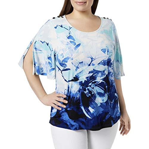 Calvin Klein Womens Plus Floral Print Split Sleeves Pullover Top Blue 2X (Calvin Klein Print Pullover)