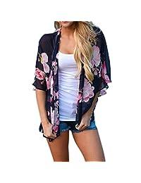 Women Floral Print Chiffon Kimono Cardigan Top Cover up Blouse