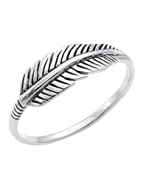 Silverly Women's .925 Sterling Silver Quill Plume Feather Leaf Oxidised Vintage Style Ring