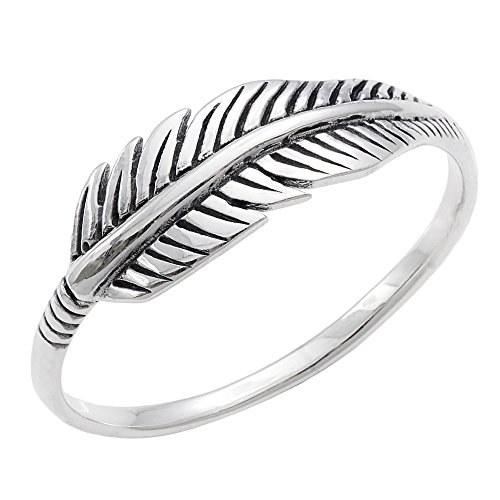 Silverly Women's .925 Sterling Silver Quill Plume Feather Leaf Oxidised Vintage Style Ring - Sterling Silver Quill
