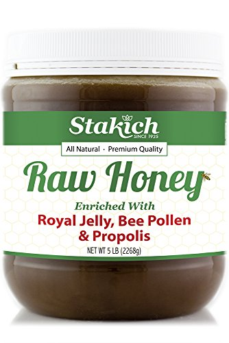 Stakich ROYAL JELLY BEE POLLEN PROPOLIS Enriched RAW HONEY 5-LB - 100% Pure, Unprocessed, Unheated - - Raw Royal Jelly