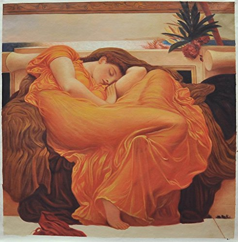 Roya Art-Flaming June Famous Artwork by Frederic Leighton Hand Painted Classical reproduction of art Oil Painting On Canvas Christian Painting For Home/Office/Wall Decoration, Size 32''wide x 32''high by Roya Art
