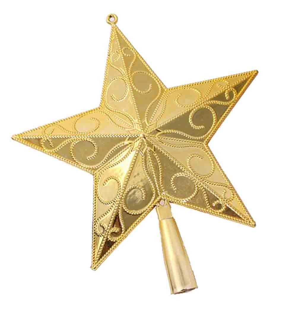 5.9/7.8-Inch Gold Star Treetop Christmas Tree Topper Christmas Tree Ornaments (15cm)