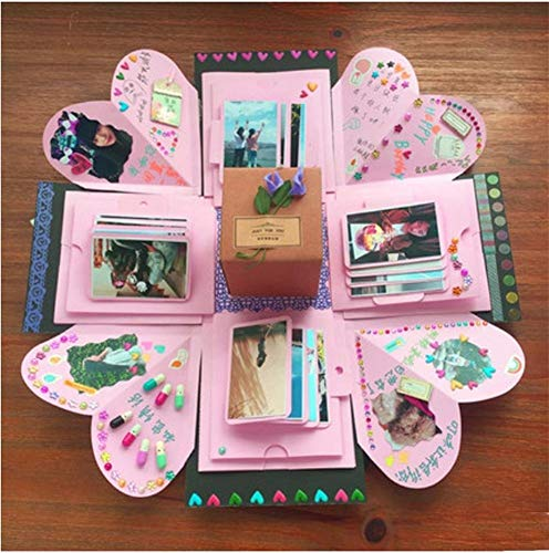 SZLAM Creative Surprise Explosion Box Hand Diy Thanksgiving Custom Birthday Gift To Send Girls Boyfriend Album Romantic Powder 36 Photos