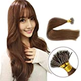 Fenicy Nano Ring Tip 100Stands Remy European Double Drawn Hair Extensions (22inch 1.0g/s, #04 Chocolate Brown)