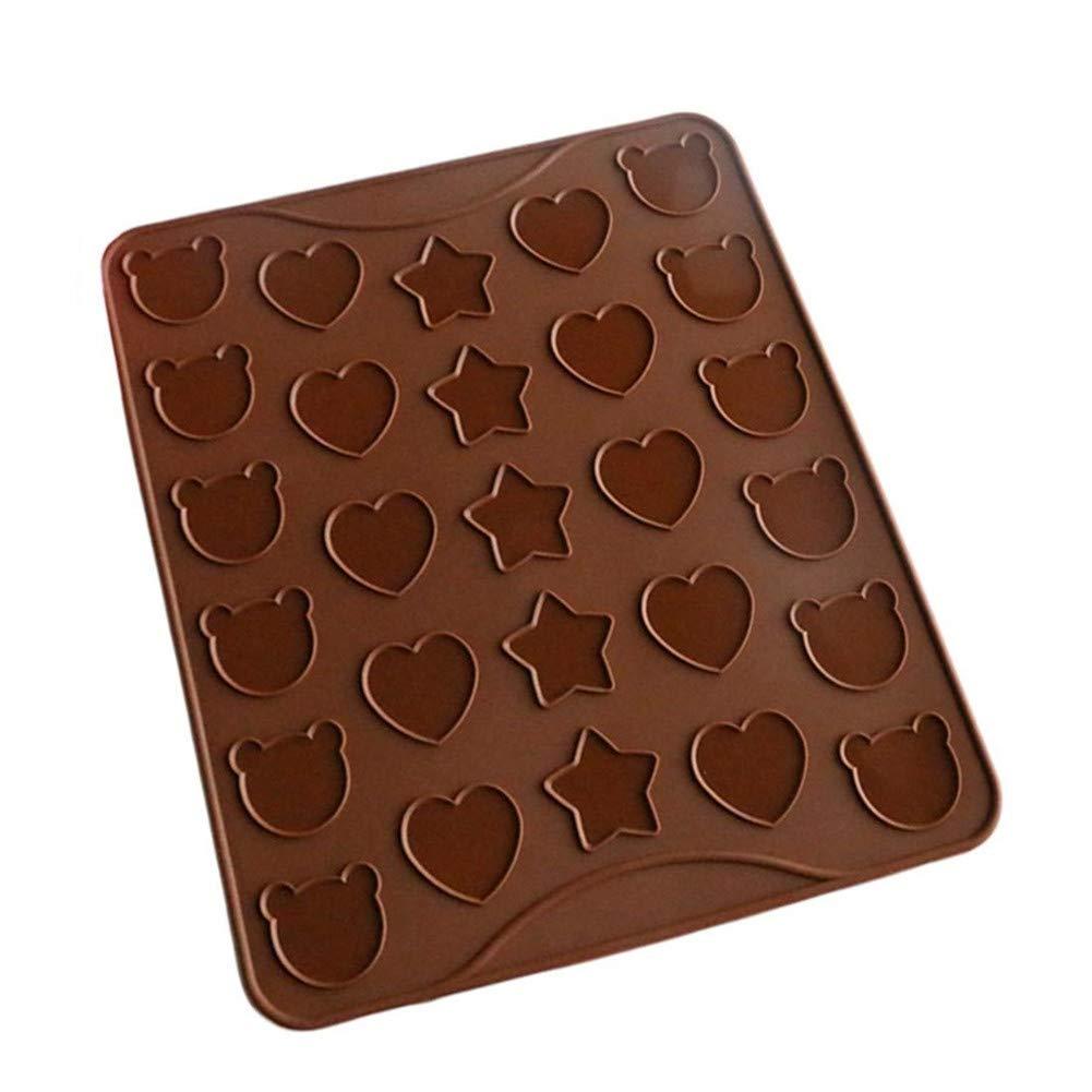 Molde para Tartas VIONNPPT Macarons dise/ño de Oso y coraz/ón Silicona, Antiadherente, 28,8 x 25,8 cm