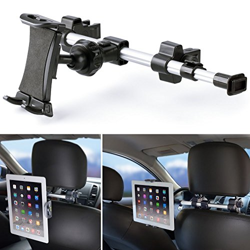 iKross Car Headrest Mount Holder with 360 Degrees Rotation for 7-10.2-Inch Tablets - Black