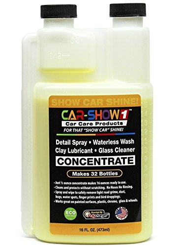 Detail Spray - Waterless Wash - Clay Lubricant - Glass Cleaner - Concentrate 16 oz - Makes 32 Bottles by CAR-SHOW (Wash Super Concentrate)