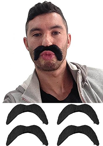 **SALE** Mens 70s 1970s Fancy Dress Black Tash Stick on Moustache Tache