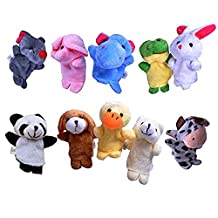 10 Finger Puppets Set for Children | Soft Toys for Kids | Velvet Animal Birthday Party Giveaways Gifts | Cute Animals Hand Toy
