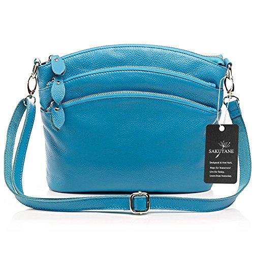 Portamonete blue Zip Vera Borse Hbbb0003 Viaggi Blue Corpo Tasca Bovina Per Croce Sakutane blu Pelle In Multistory Donne wTPPz1F