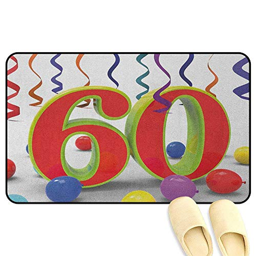 homecoco 60th Birthday Doormat Party Confetti Swirls with The Baloons Ribbons and Green Orange 60 Number Multicolor Kitchen Decor mats W24 x L35 INCH