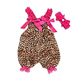 NUWFOR Toddler Baby Boys Girls Leopard Print Romper Jumpsuit+Headband Set Outfit (Multicolor,0-3 Months)