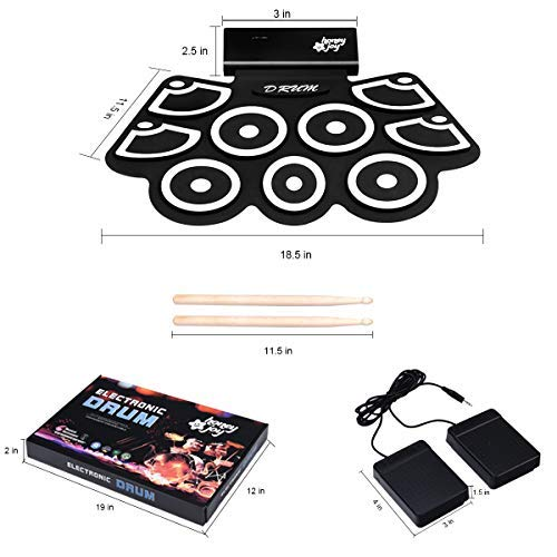 Electronic Silicone Rechargeable Drum Kit, Safeplus 9 Pads Foldable Drum Set Built in Speaker With Pedals Sticks, Perfect for Practice Drum Starters, Beginners (Upgraded)