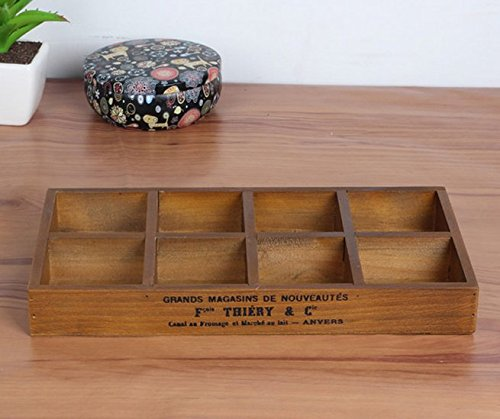 Multi-functional 8-Grid Vintage Wooden Storage Divider Box Drawer Desk Organizer Tray for Crafts,Flowers, Plants, Jewelry, Supplies from Astra Gourmet - Jewlery Box Divider
