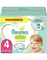 Pampers Maat 4 Premium Protection Luiers, 168 Stuks, MAANDBOX, onze Nummer 1 Luier voor Zachtheid en Bescherming van de Gevoelige Huid (9-14 kg)