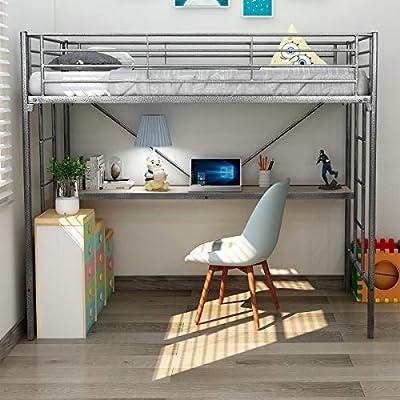 DUMEE Litera de Metal Cama Individual y Escalera para Dormitorio de niños, niñas, Adolescentes, niños, Color Negro y Plateado: Amazon.es: Juguetes y juegos