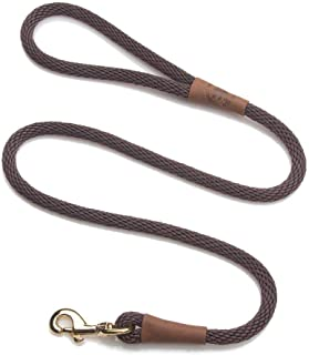product image for Mendota Pet Snap Leash - British-Style Braided Dog Lead, Made in The USA - Brown, 1/2 in x 6 ft - for Large Breeds