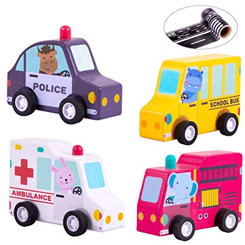 iPlay, iLearn Baby Pull Back Car Play Set, Build Your Own, School Bus, Fire Truck, Emergency Vehicles, Wooden Safe Toy, Educational, Creative Gifts for 1, 2, 3 Year Olds Kids, Toddlers, Boys, Girls