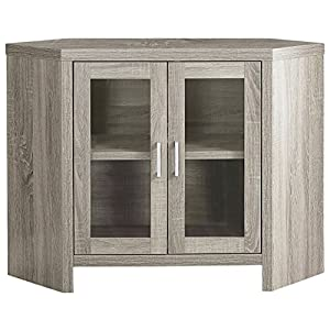 "Monarch Specialties Dark Taupe Corner with Glass Doors TV Stand, 42"""