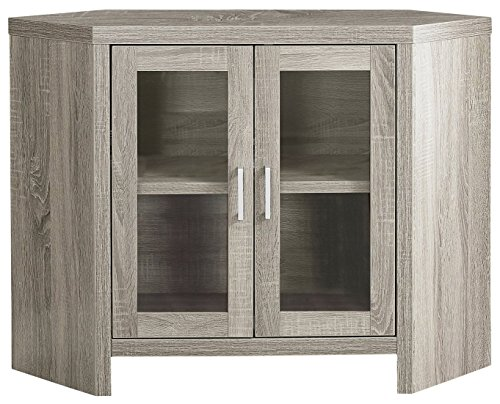 Monarch Specialties Dark Taupe Corner with Glass Doors TV Stand, 42