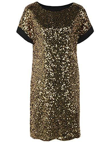 PrettyGuide Women's Sequin Cocktail Dress Loose Glitter Short Sleeve Party Tunic Dress S Black Gold