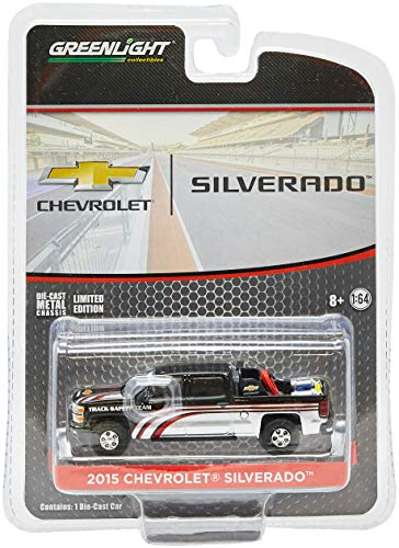 Greenlight 1:64 2015 Chevy Silverado in Black with Safety Equipment in Truck Bed (29896) Die-Cast Vehicle from Greenlight