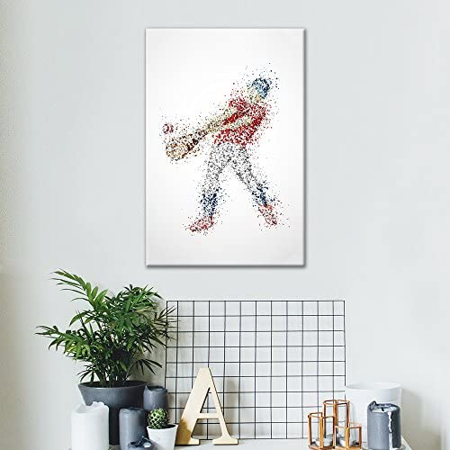 Sports Theme Abstract Man Hitting a Baseball Formed Colorful Dots