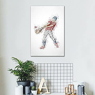 Canvas Wall Art Sports Theme - Abstract Man Hitting a Baseball Formed Colorful Dots - Giclee Print Gallery Wrap Modern Home Art Ready to Hang - 12x18 inches
