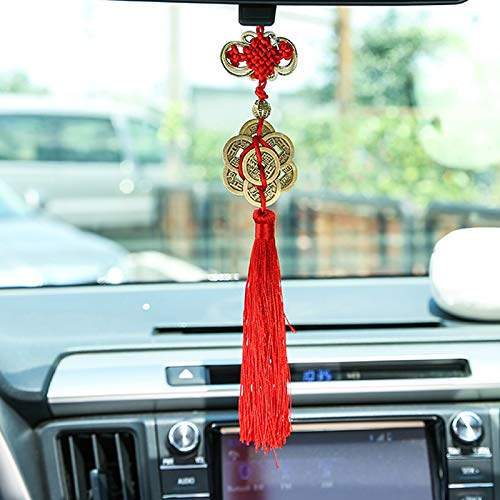 wufang Chinese Spring Festival Decoration Fortune Coins Good Luck Coin with Chinese Knot Tassel Oriental Pendant Ornaments 4Pcs