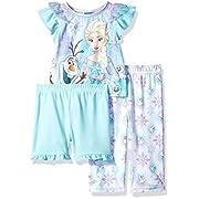 Disney Baby Girls' Frozen 3-Piece Pajama Set, Ice Blue, 18M